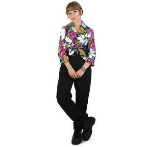 90s Floral 3/4 Sleeve Button Up Collared Blouse